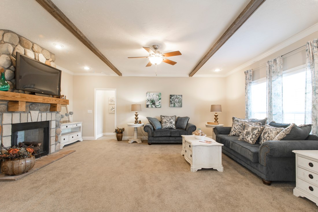The 3549 JAMESTOWN Living Room. This Manufactured Mobile Home features 3 bedrooms and 2 baths.