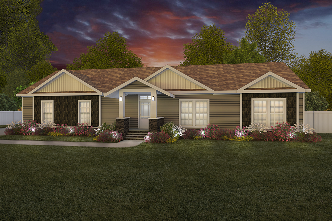 The 3549 JAMESTOWN Exterior. This Manufactured Mobile Home features 3 bedrooms and 2 baths.