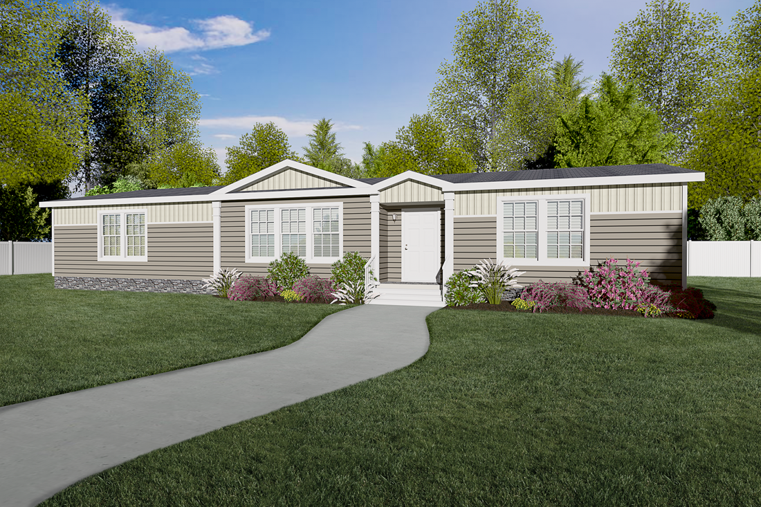 The 1553 JAMESTOWN Exterior. This Manufactured Mobile Home features 3 bedrooms and 2 baths.