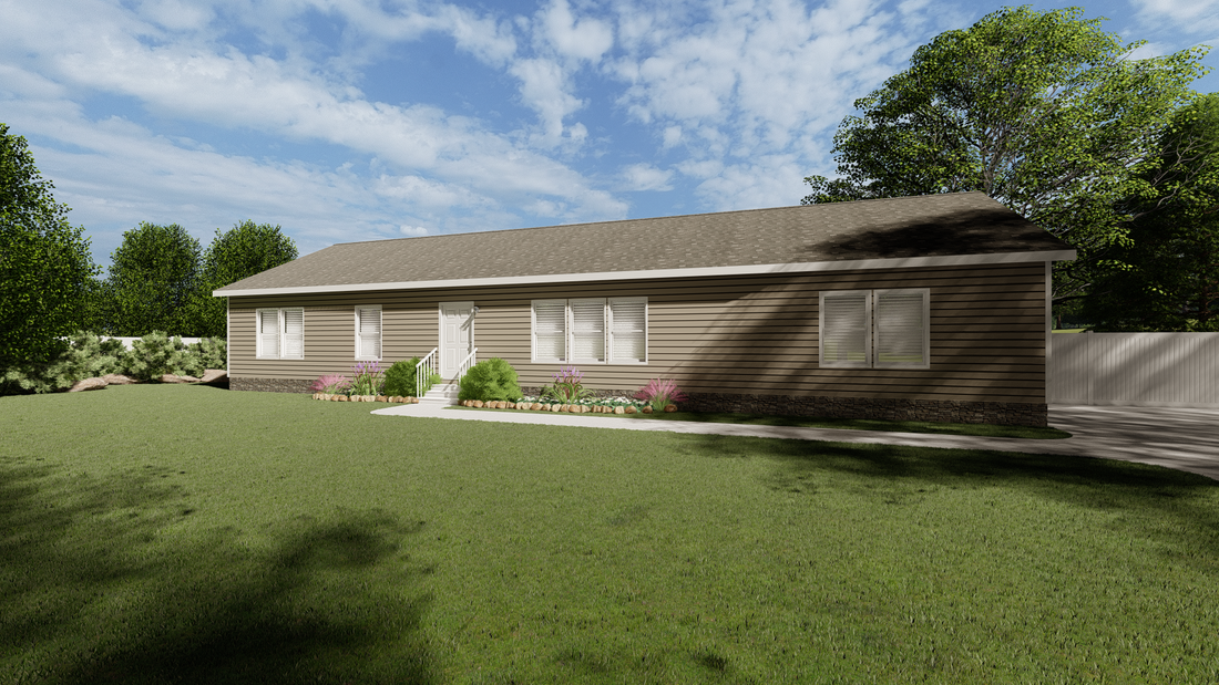 The 3554 JAMESTOWN Exterior. This Modular Home features 4 bedrooms and 2 baths.