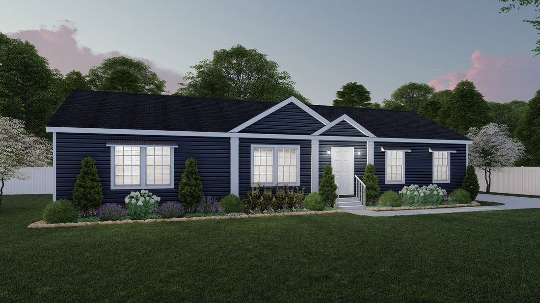 The 3558 JAMESTOWN Exterior. This Modular Home features 3 bedrooms and 2 baths.
