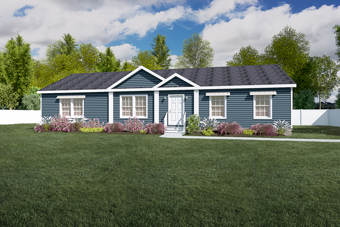 The 3558 JAMESTOWN Exterior. This Manufactured Mobile Home features 3 bedrooms and 2 baths.