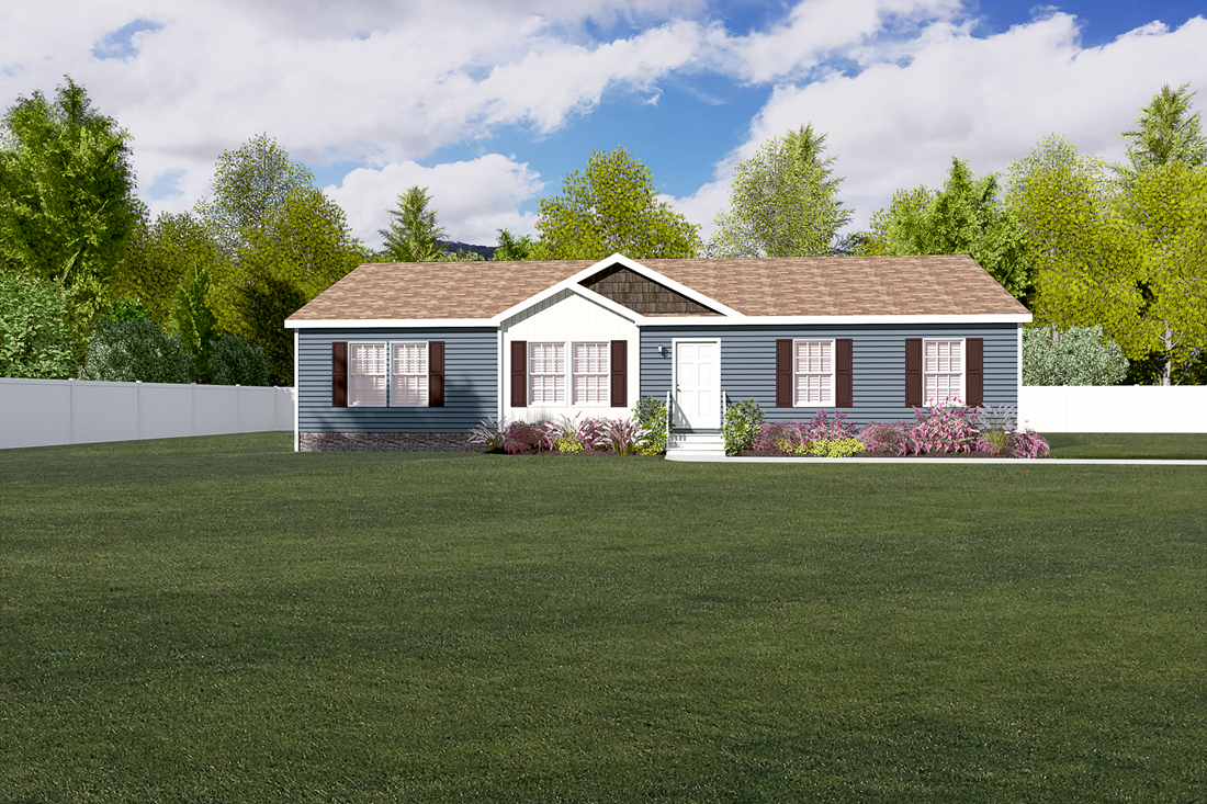 The 3542 JAMESTOWN Exterior. This Manufactured Mobile Home features 3 bedrooms and 2 baths.