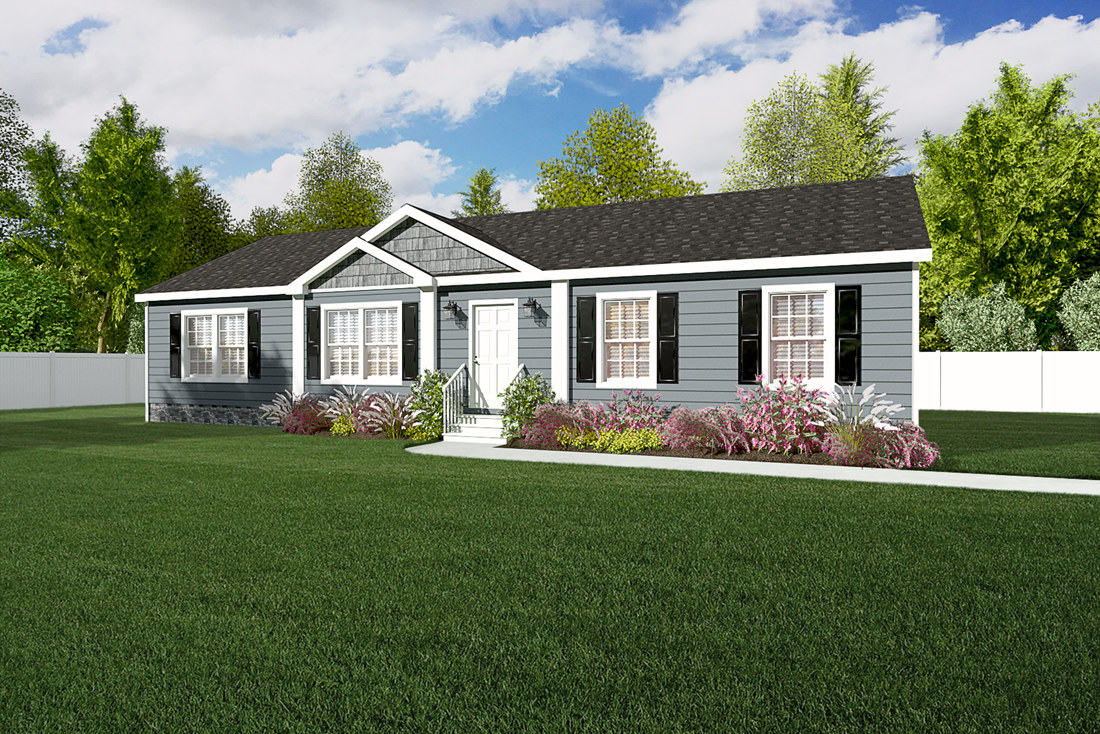 The 3542 JAMESTOWN Upgrade Exterior. This Manufactured Mobile Home features 3 bedrooms and 2 baths.