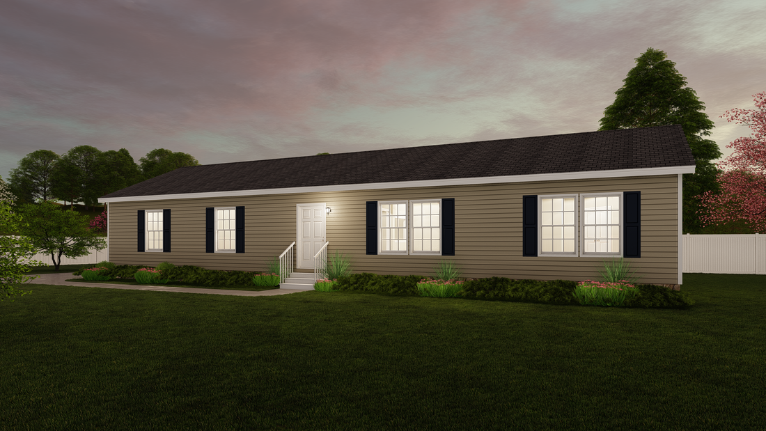The 3533 JAMESTOWN Exterior. This Modular Home features 3 bedrooms and 2 baths.