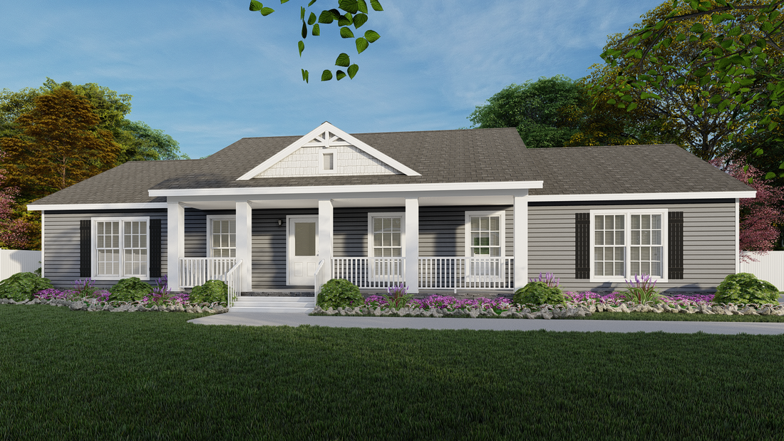 The 3545 JAMESTOWN Exterior. This Modular Home features 3 bedrooms and 2 baths.