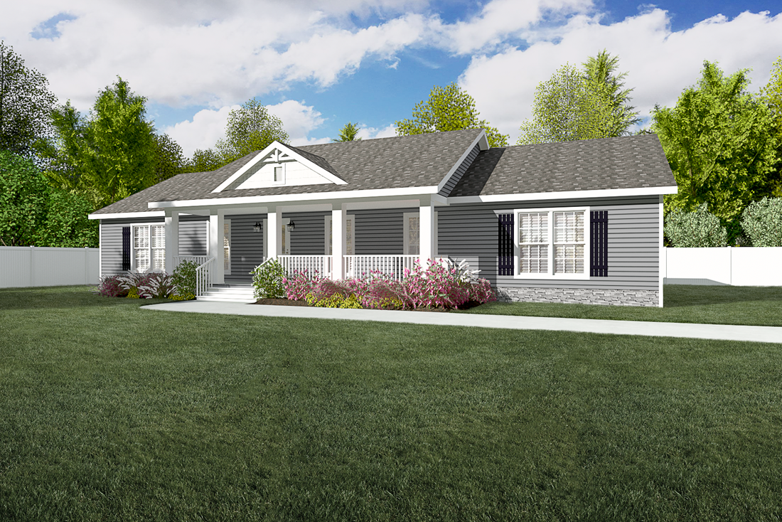 The 3545 JAMESTOWN Exterior. This Manufactured Mobile Home features 3 bedrooms and 2 baths.
